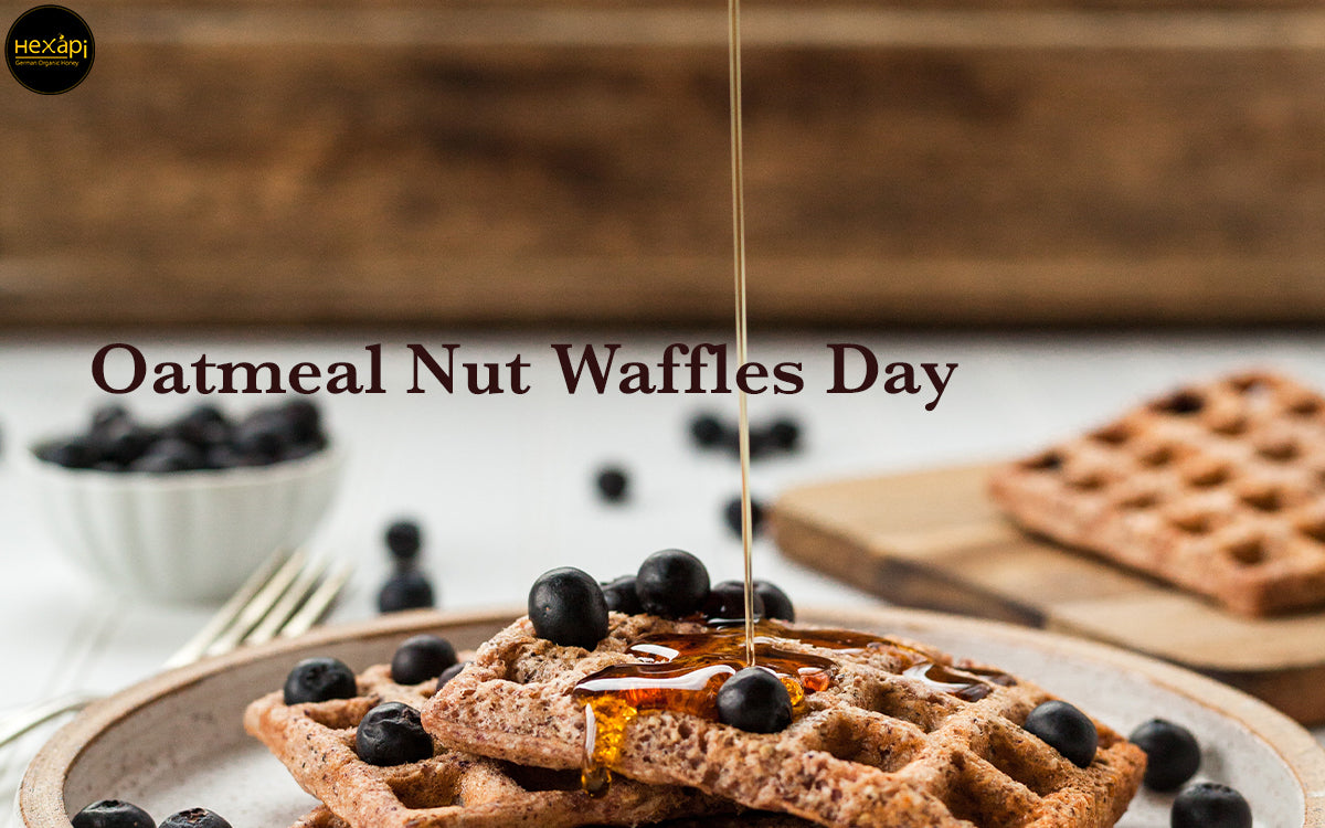 Oatmeal Nut Waffles Day with Organic Honey & Chocolate, Nuts, Vanilla