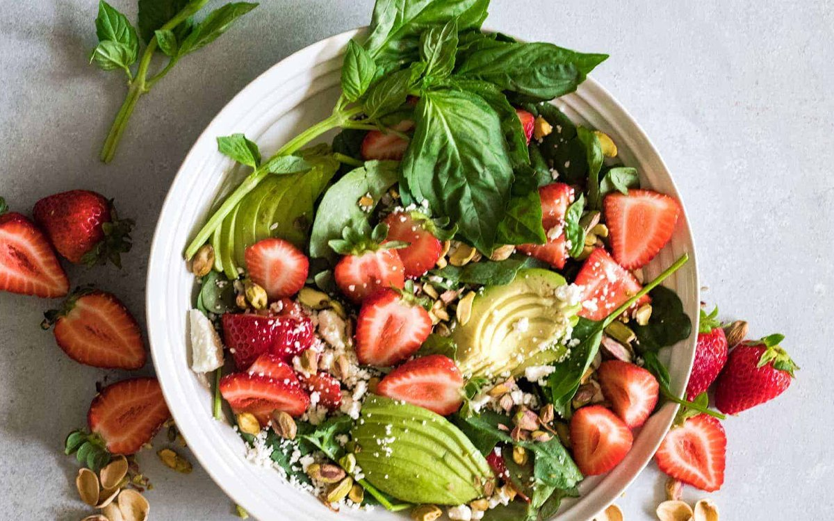 Strawberry Avocado and Pistachio Honey Salad