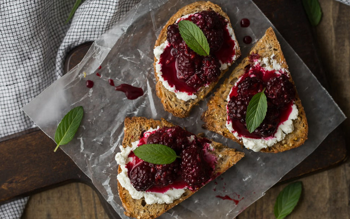 Blackberry Goat Cheese Honey Crostini