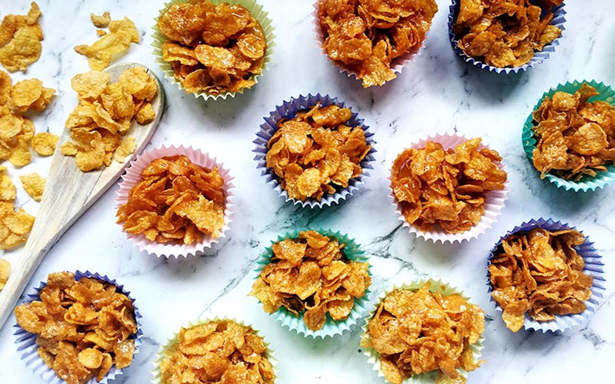 Baked Corn Flakes with Chestnut Honey