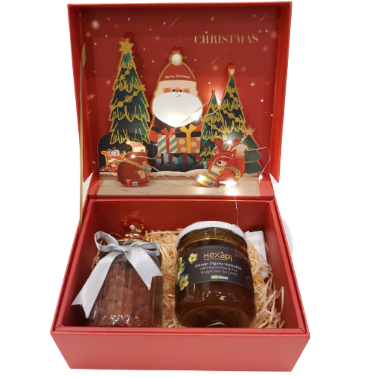 Red Christmas Gift Box Set (with light)
