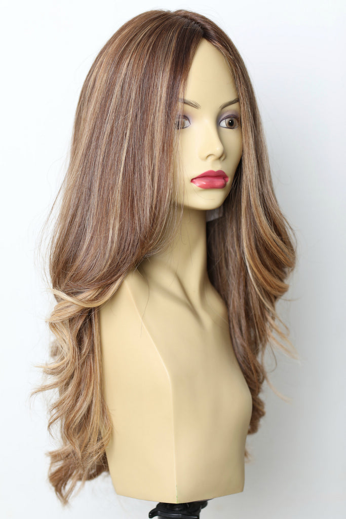 Yaffa Wigs Finest Quality Brown With Highlights 100% Virgin Human European Hair