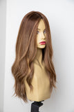 Yaffa Wigs Finest Quality Warm Brown W/Highlights Long 100% Human Hair