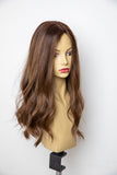 Yaffa Wigs Finest Quality Long Brown W/ Highlights Straight Pony 100% Human Hair