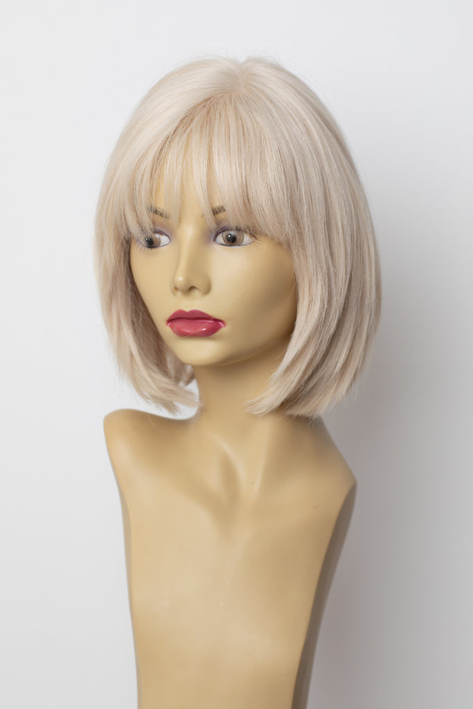 Yaffa Wigs Finest Quality Short Platinum Lace Front 100% Human  Hair