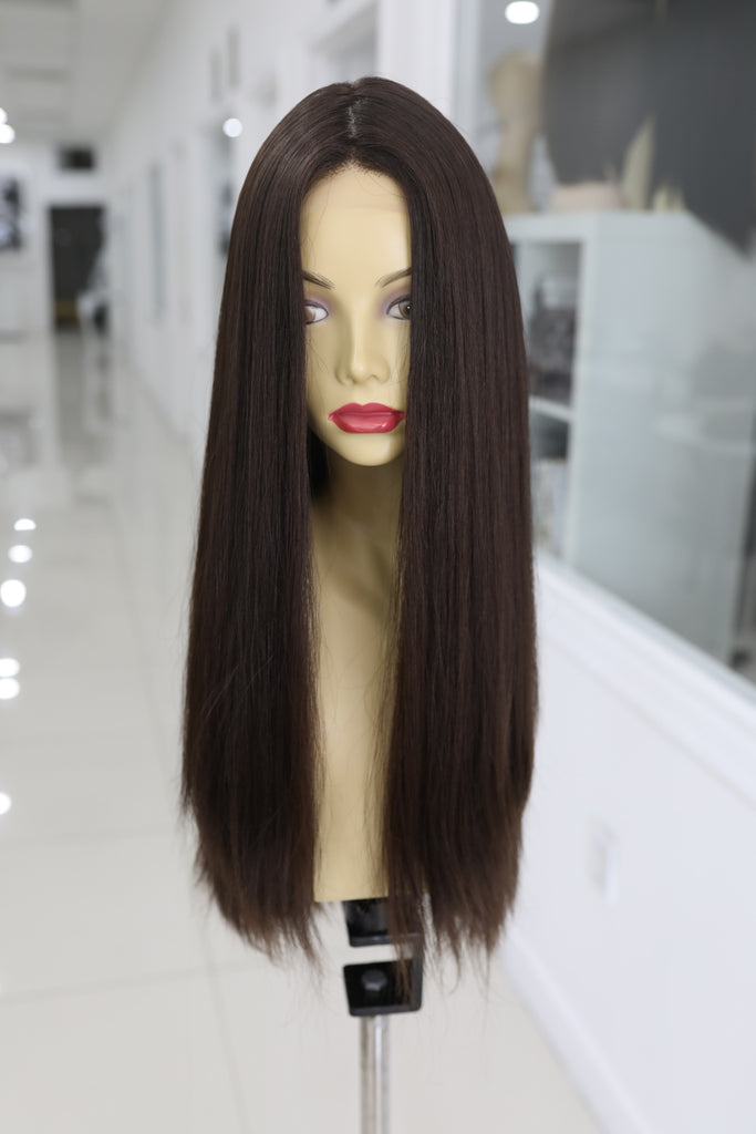 Yaffa Wigs Finest Quality Dark Brown Long Lace Front 100% Human Hair