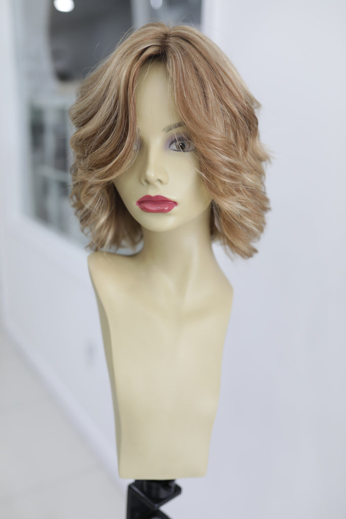 Yaffa Wigs Highest Quality Short Blond W/ Highlights 100% Virgin European Human Hair