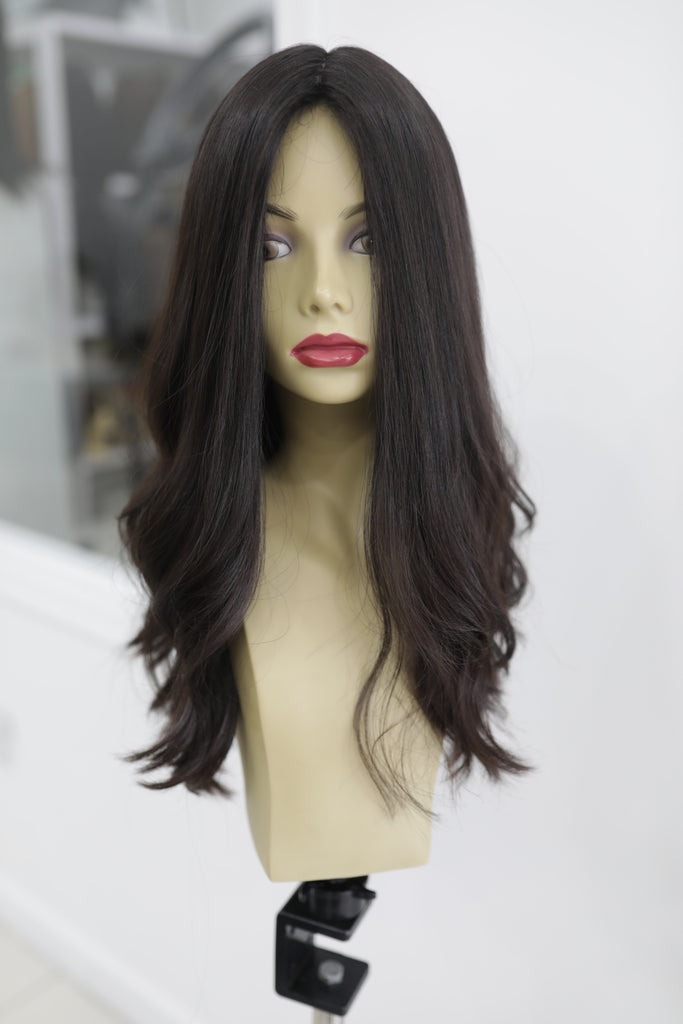Yaffa Wigs Finest Quality Long Dark Brown Layered 100% Virgin Human European Hair