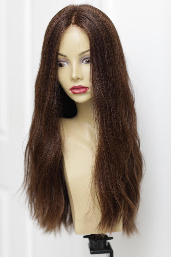 Yaffa Wigs Finest Quality Long Brown  Lace Top 100% Human Hair