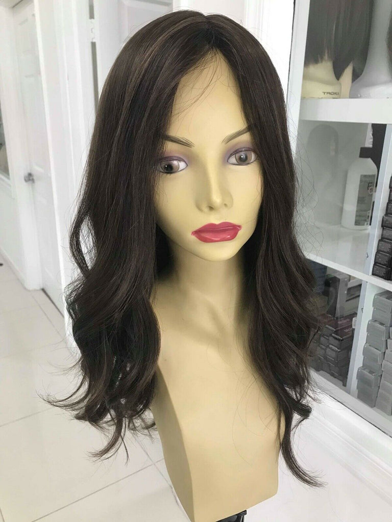 Yaffa Wigs Finest Quality Long Brown Straight 100% Human Hair