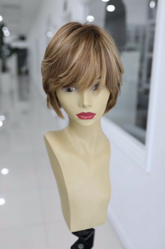 Yaffa Wigs Finest Quality Short Brown Highlights100% European Virgin Human Hair