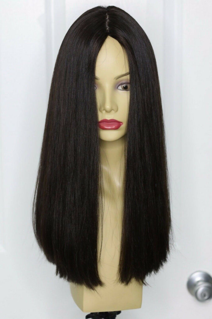 Yaffa Wigs Finest Quality Long Hair Dark Brown 100% Virgin Human European Hair