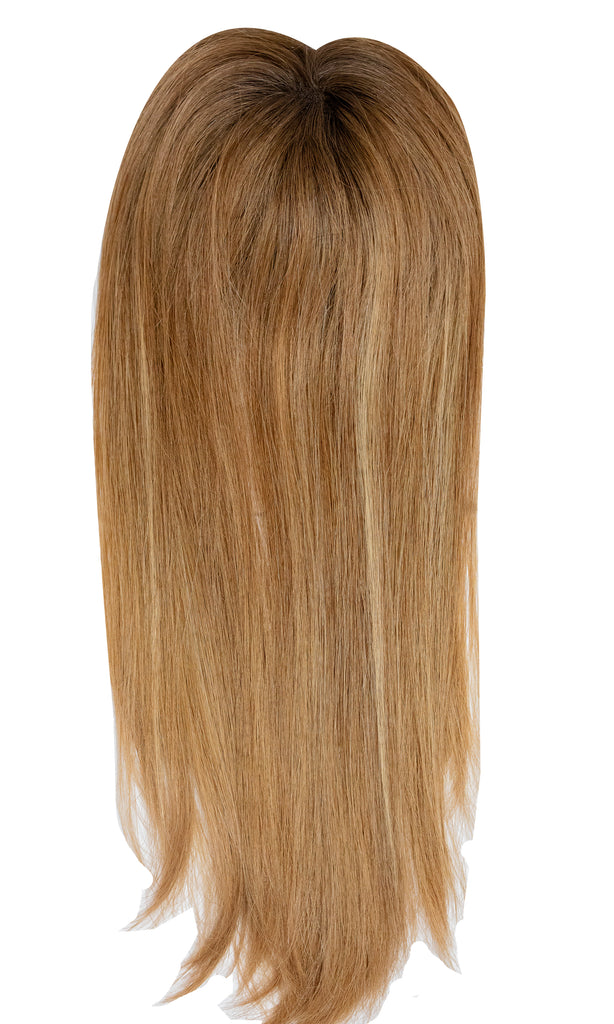 Yaffa Wigs Finest Quality Long Brown With Blond Highlights Mito Topper 100% Human Hair