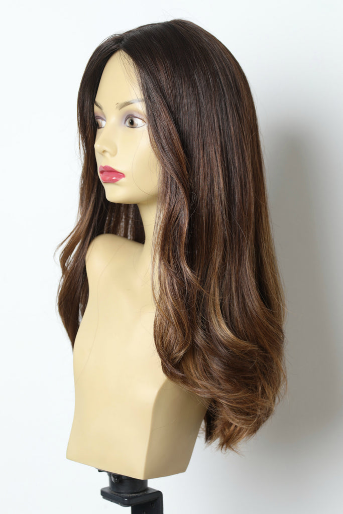 Yaffa Wigs Finest Quality Brown W/ Highlights Long  100% Human Hair