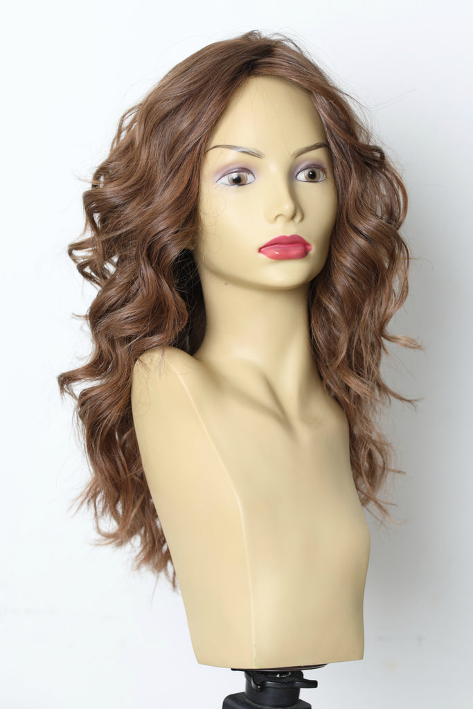 Yaffa Wigs Finest Quality Long  Brown Wavy W/ Soft Highlights Tiffany Couture 100% Human Hair