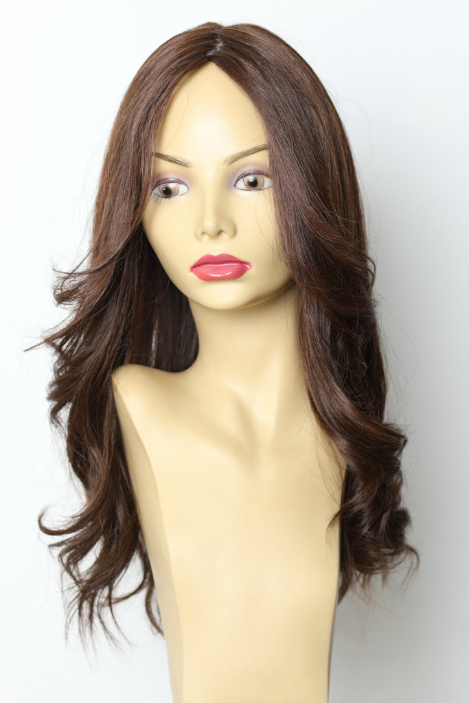 Yaffa Wigs Finest Quality Small Long Brown Hair Skin Top 100% Human Hair