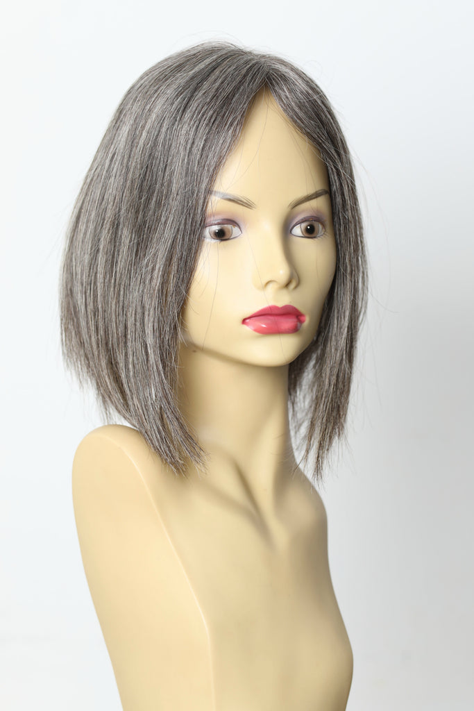 Yaffa Wigs Finest Quality Short Grey Big Lace Mono Topper 100% Human Hair