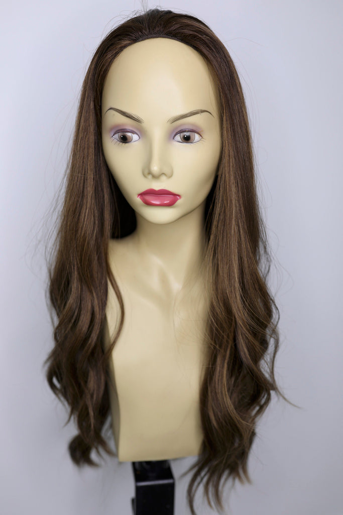 Yaffa Wigs Finest Quality Long Brown With Highlights Fall 100% Human Hair