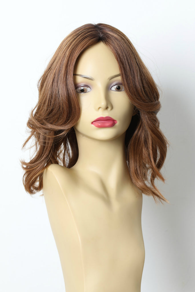 Yaffa Wigs Finest Quality Light Brown With Soft Red Dark Rooted Short 100% Human Hair