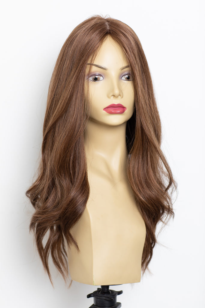 Yaffa Wigs Finest Quality Long Brown W/ Highlights  Straight 100% Human Hair