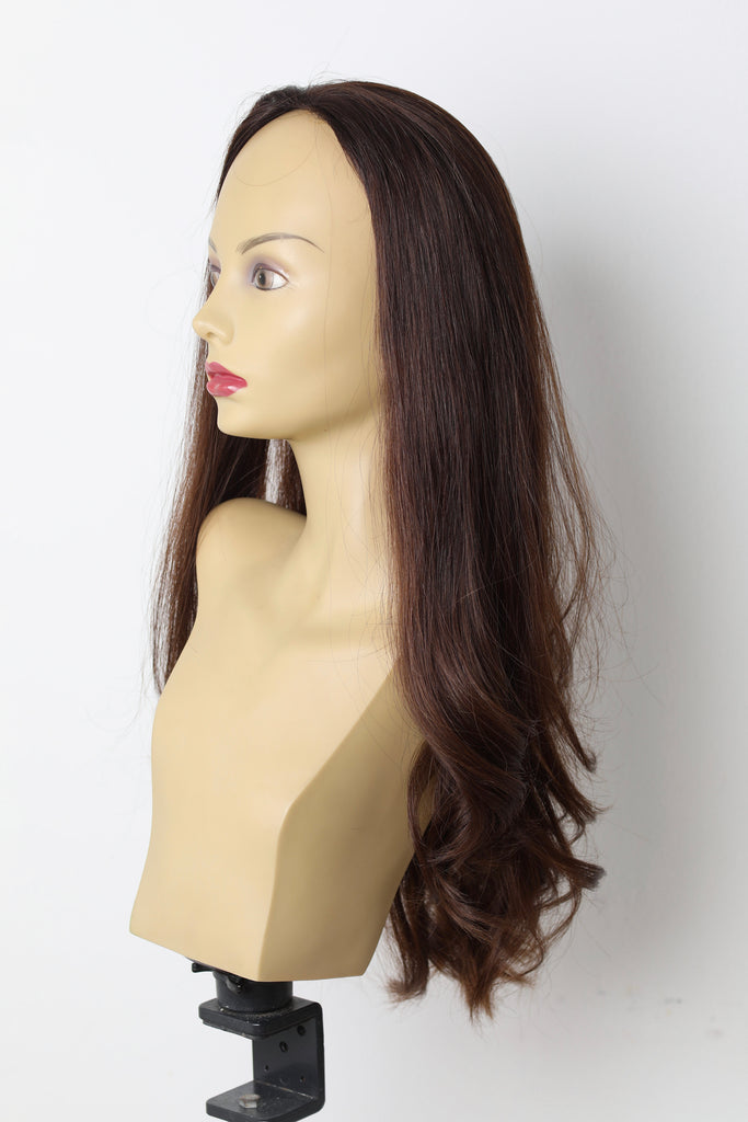 Yaffa Wigs Finest Quality Long Warm Brown Fall Straight 100% Human Hair