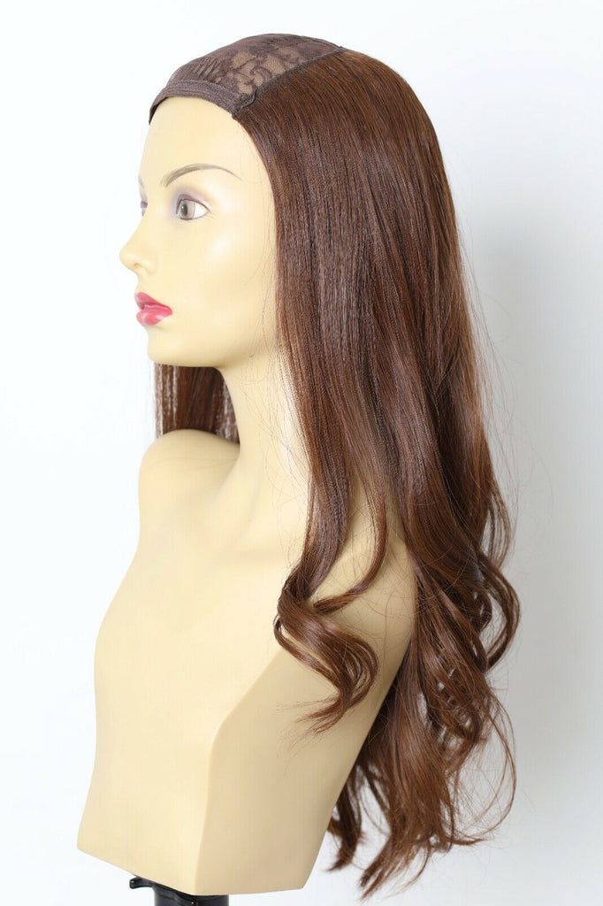 Yaffa Wigs Finest Quality Long Brown Hat Fall Straight 100% Human Hair