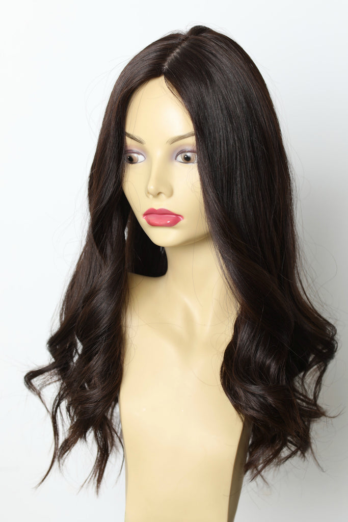 Yaffa Wigs Finest Quality Long Dark Brown Straight 100% Human Hair