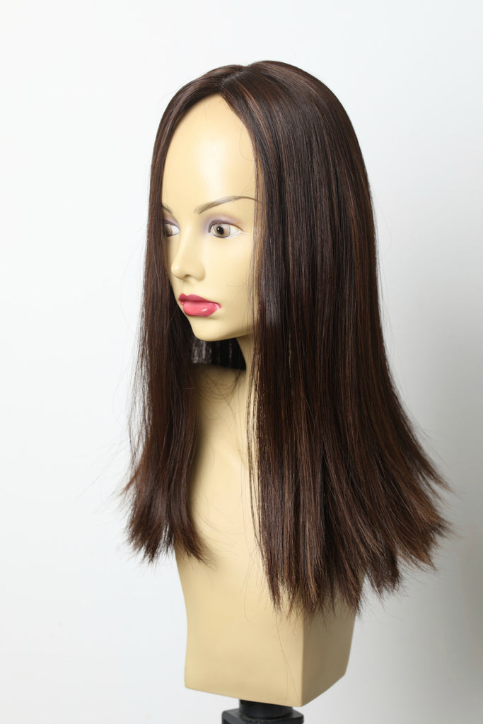 Yaffa Wigs Finest Quality Long Brown W/ highlights Skin Top Topper 100% Human Hair