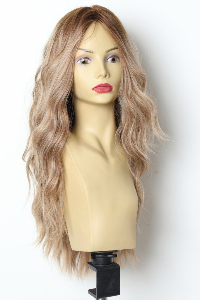 Yaffa Wigs Finest Quality Long  Brown W/Highlights Tiffany Couture 100% Human Hair