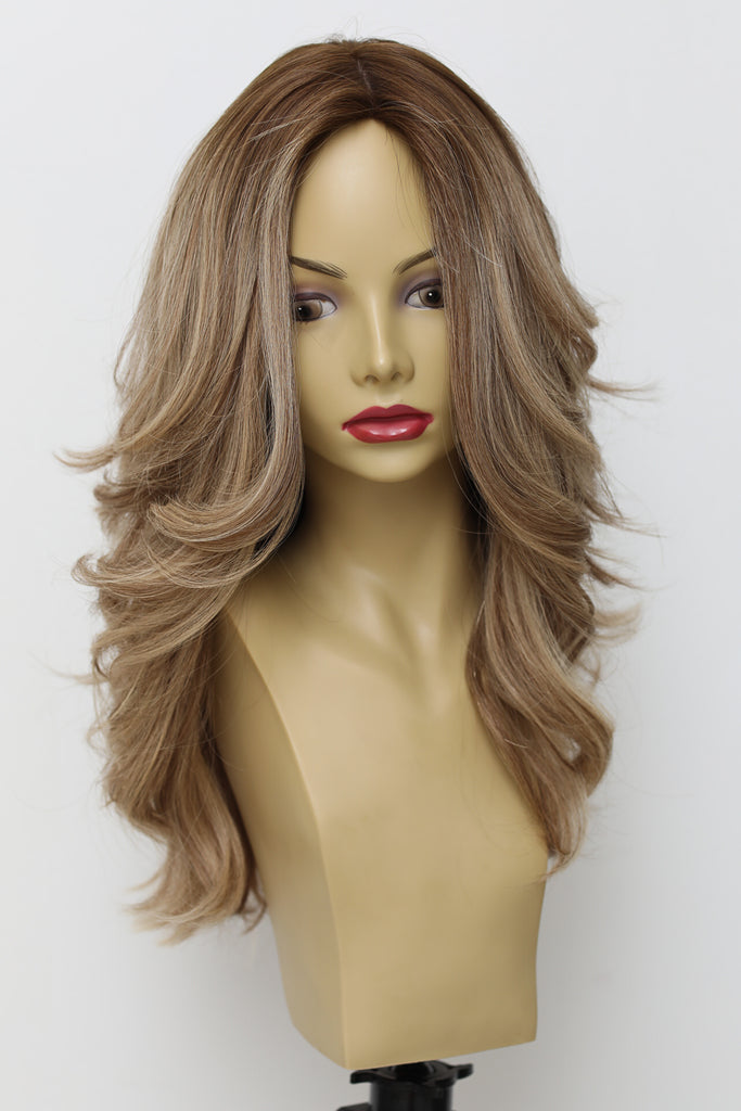 Yaffa Wigs Finest Quality Long  Brown Wavy W/Highlights Tiffany Couture 100% Human Hair