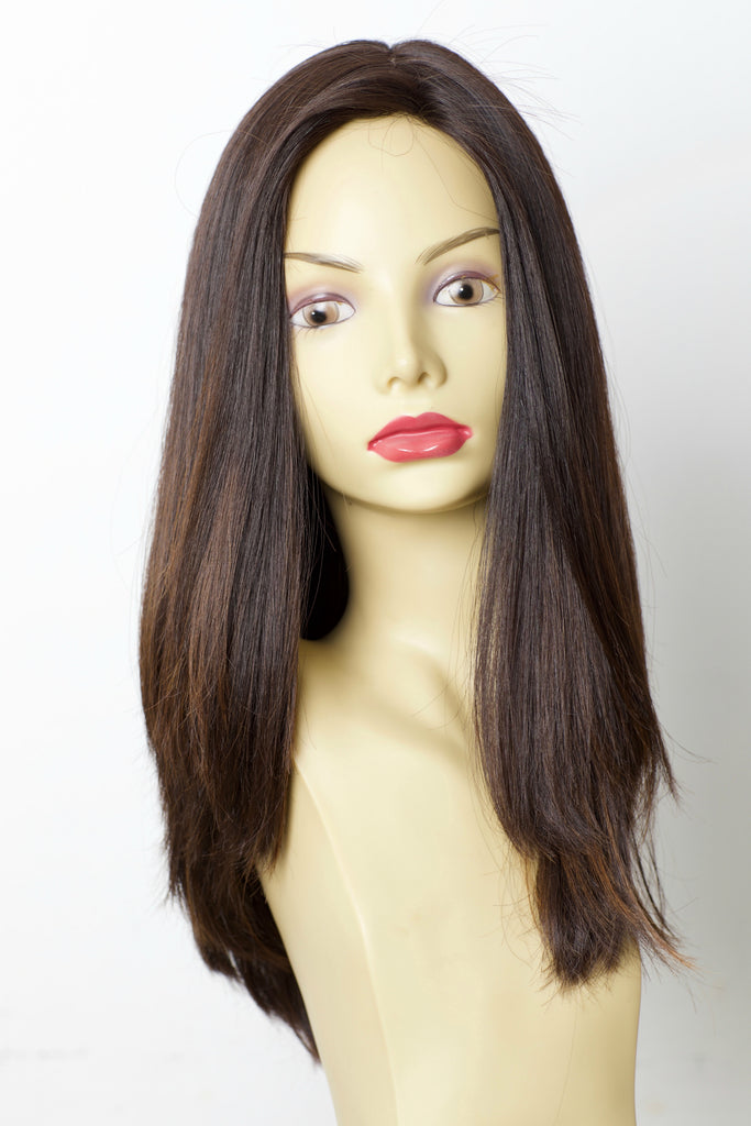 Yaffa Wigs Finest Quality Long Hair Dark Brown With Highlights 100% Virgin Human European Hair