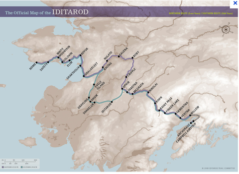 Iditarod Dogsled Race Map