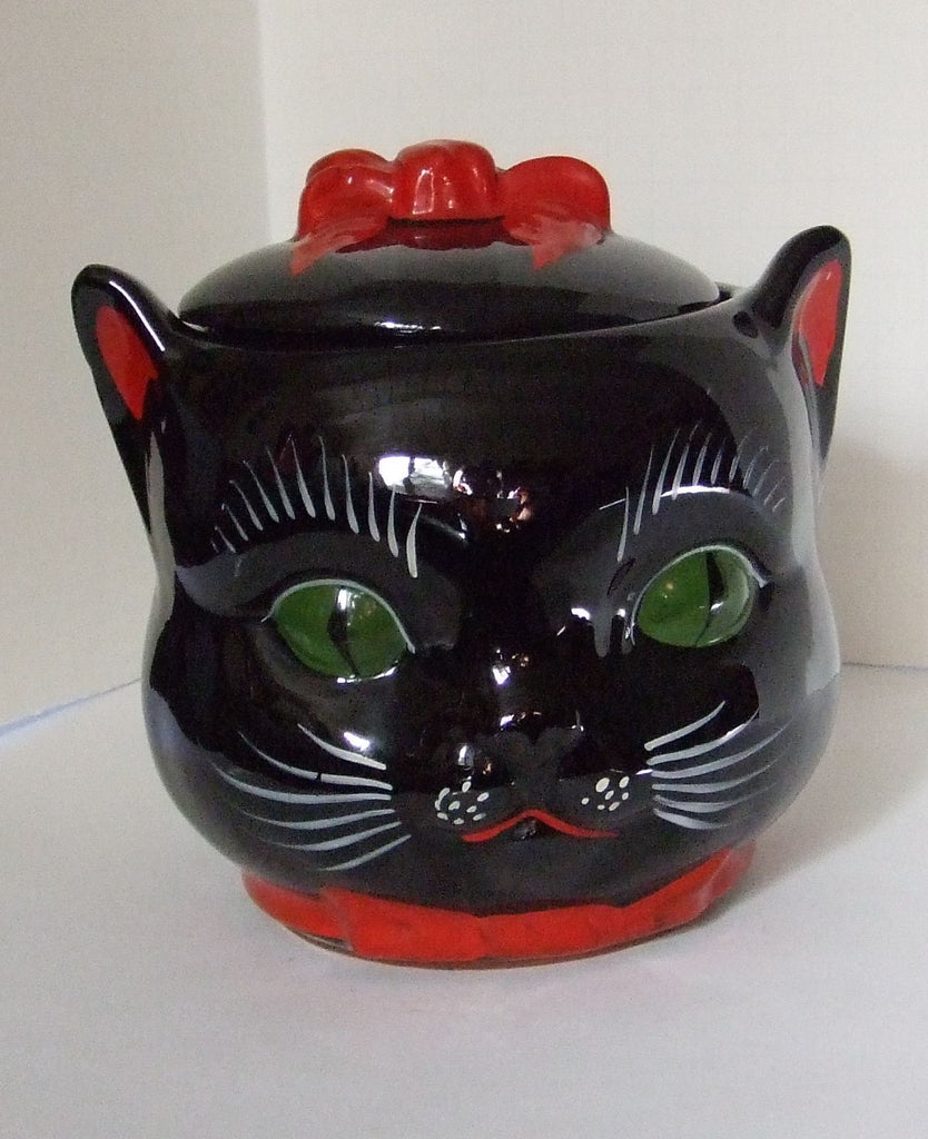 Big Cat Head Redware Cookie Jar 1950s, Made in Japan