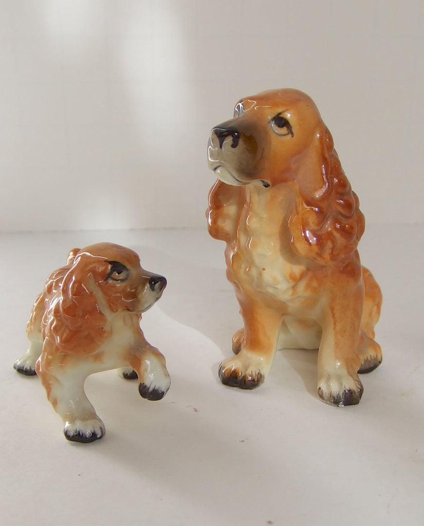 Lefton Bone China Cocker Spaniel & Puppy, Japan