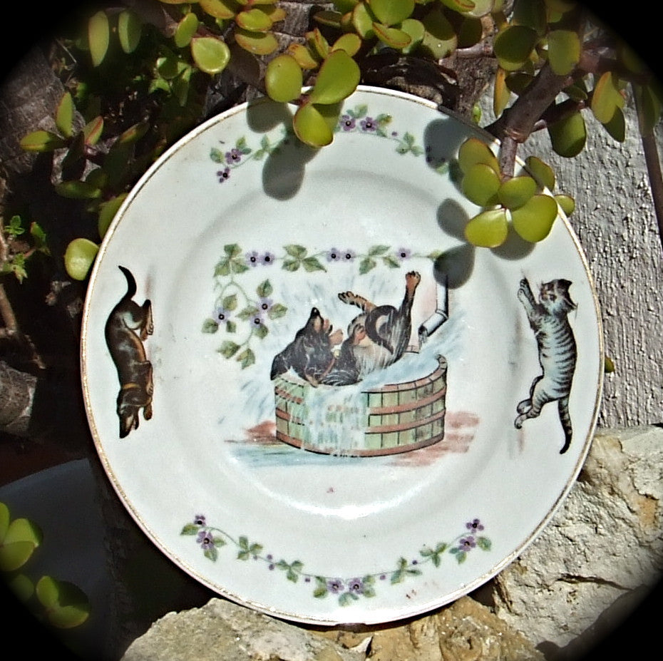 Antique Dog & Cat Plate, Made in Germany