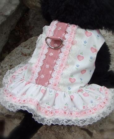 Hearts & Lace Doggie Dress by Mama Kitty, Size X-Small
