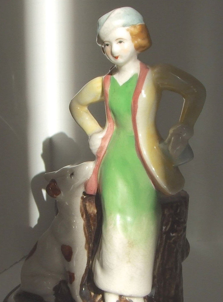 1920s-1930s Lady & Spotted Dog Planter
