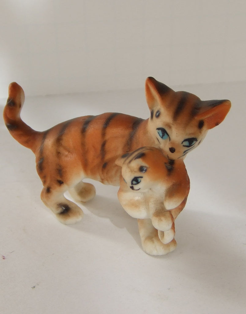 Orange Tabby Mother Cat & Kitten, Lefton Bone China