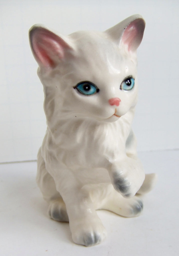 Lefton Blue-Eyed White Persian Cat, Japan, Matte Glaze