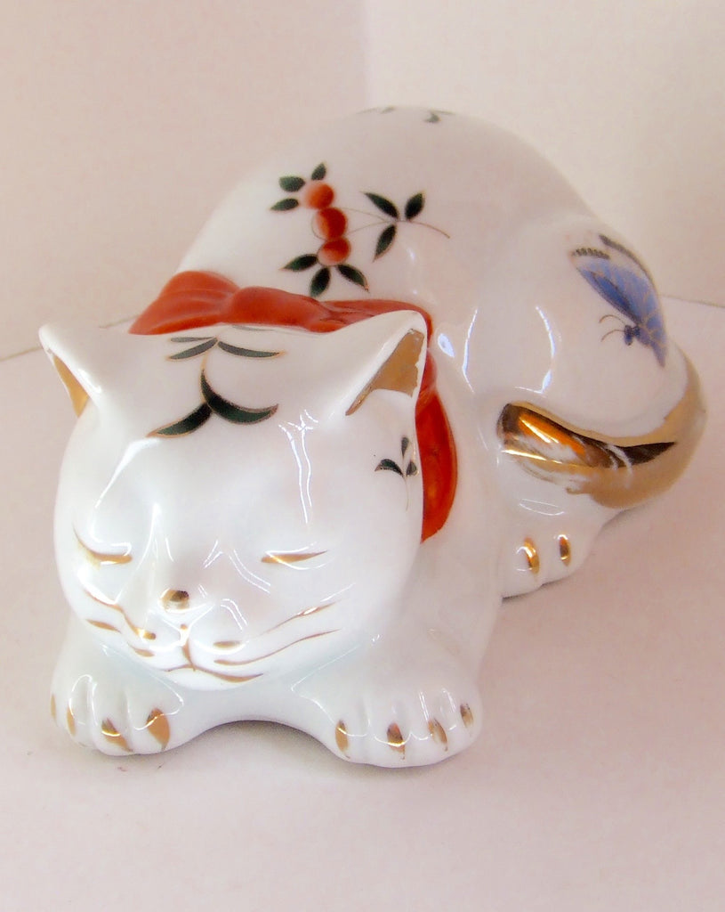 Sleeping Cat with Butterflies, Takahashi, Made in Japan