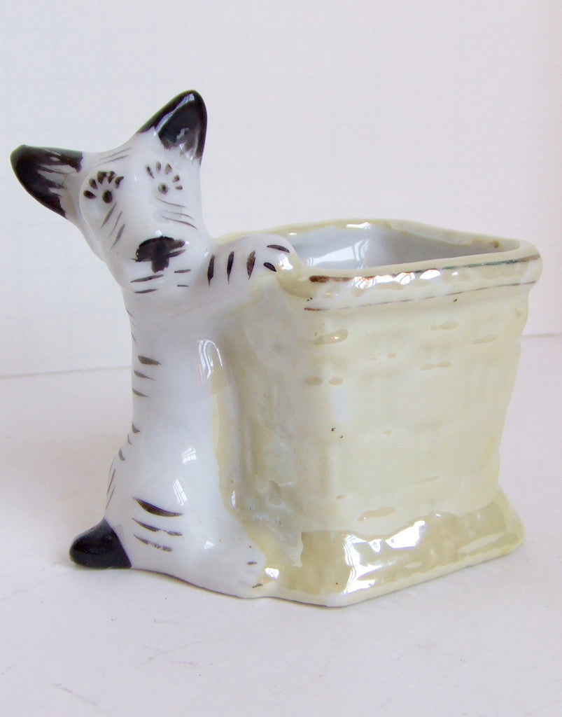Happy Doggie with Basket, Kitchen-Match Holder, Ceramic Mid-20th Century