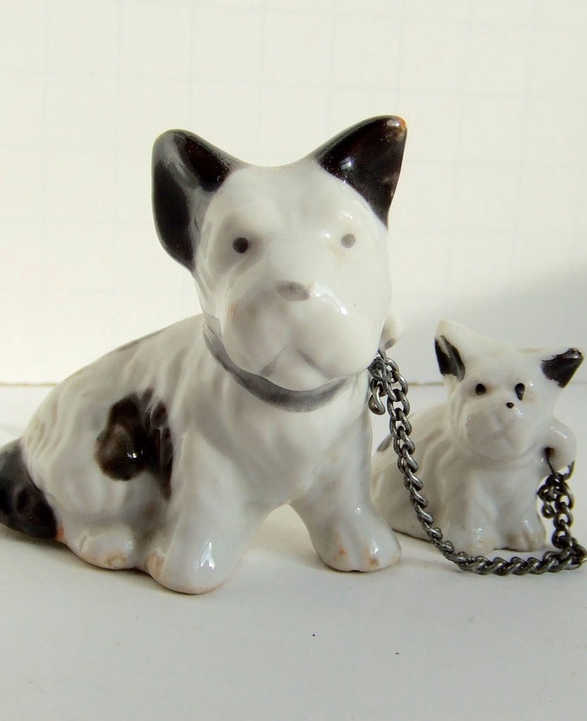 Mama Dog & Pup with Original Chain, Made in Japan 1950s