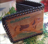 leather wallet with dog picture