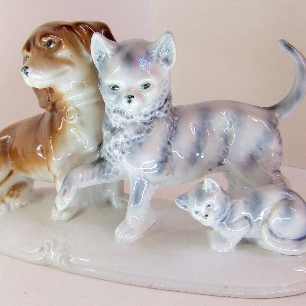 Dachshund, Cat & Kitten on Pedestal, Antique Pre-1920