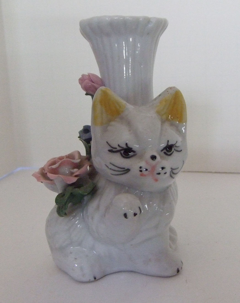 Porcelain Kitty Vase With Roses
