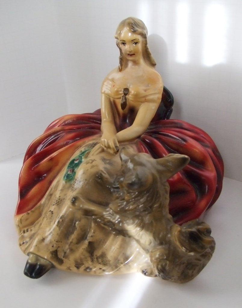 Lady in Red with Pekingese Dog, Chalkware
