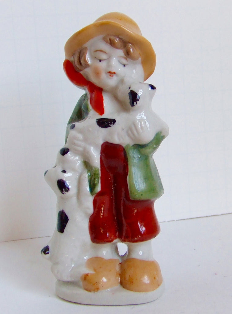 Child with Two Spotted Dogs, Ceramic, Made in Japan