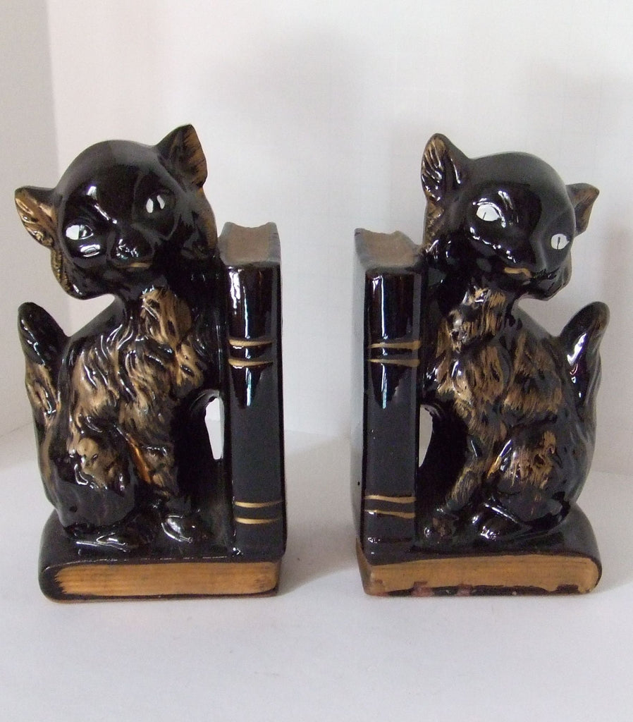 Black Cat Redware Bookends, 1950s Retro, Made in Japan