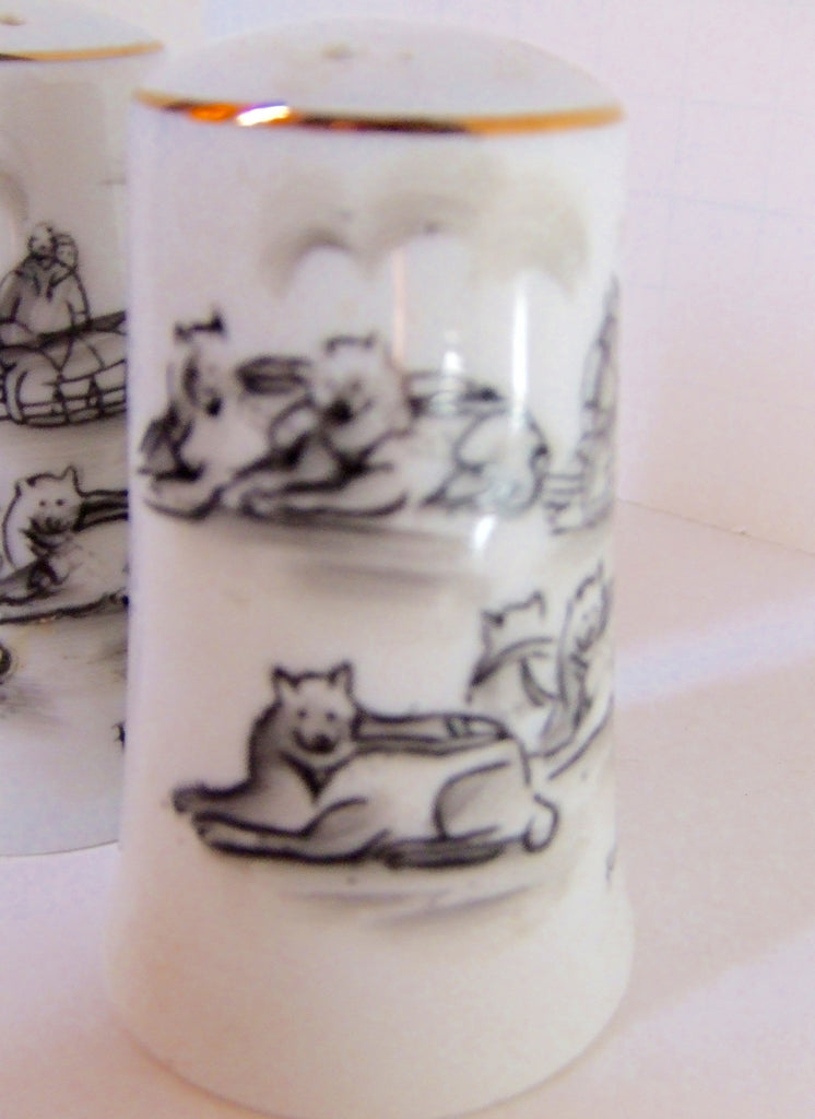 Sled Dogs by Robert Magokok, Ceramic Salt & Pepper Shakers