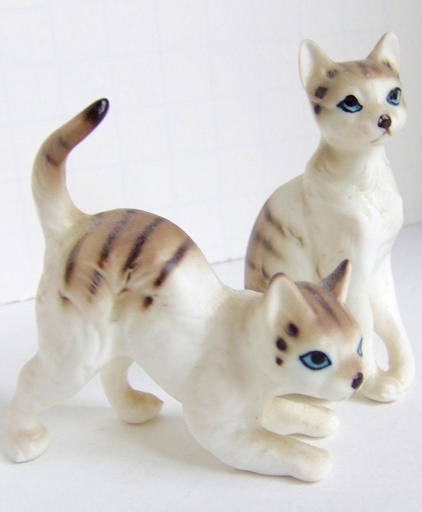 Pair of Lefton Bone China Tabby Cats, Hand Painted